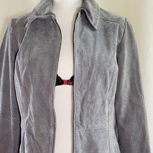 Dennis Basso Gray Suede Zip  Front Jacket